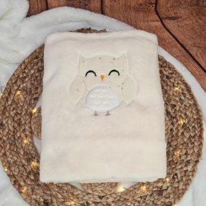 Couverture bébé – écru brodée chouette